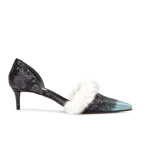 Fur-Trimmed Kitten-Heel Pumps