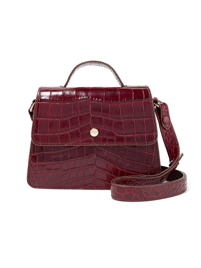 Elizabeth and James Eloise Mini Suede-Trimmed Croc-Effect Leather Shoulder Bag