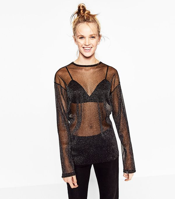 Zara Shiny Tulle Top
