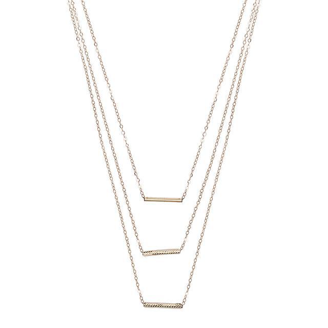 Erth 14K Gold 3 Bar Necklace