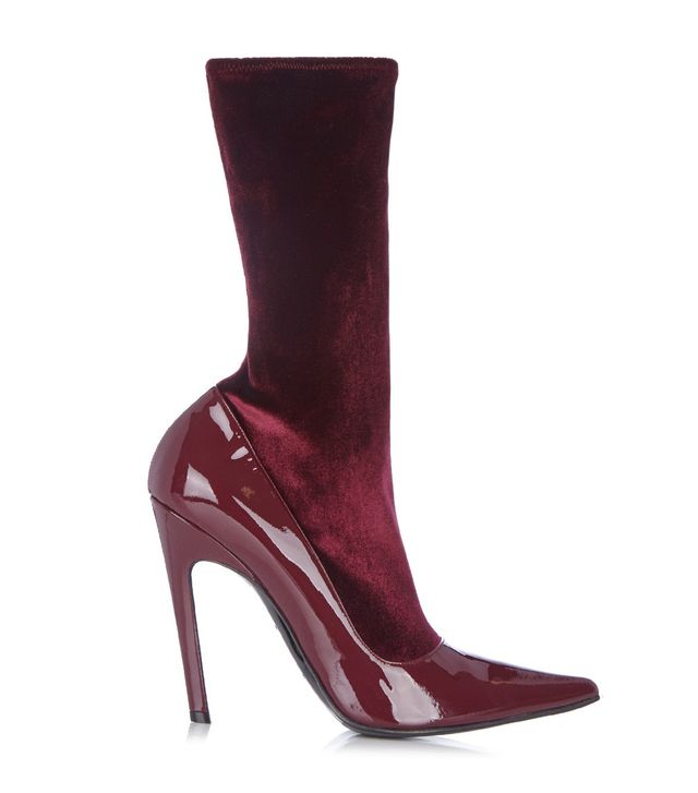 Balenciaga Boudoir Velvet And Leather Ankle Boots