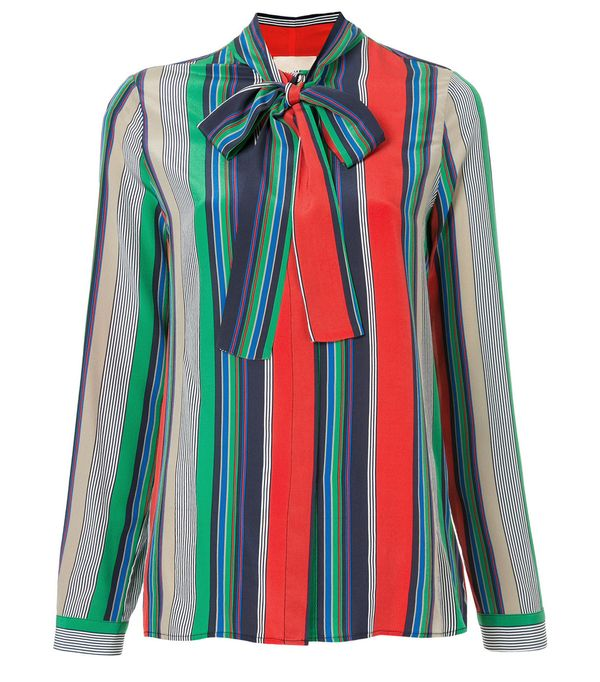 striped pussy-bow blouse