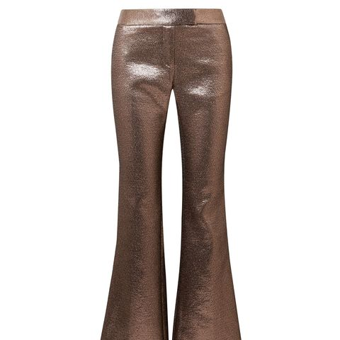 Bruno Grosgrain-Trimmed Metallic Jacquard Flared Pants