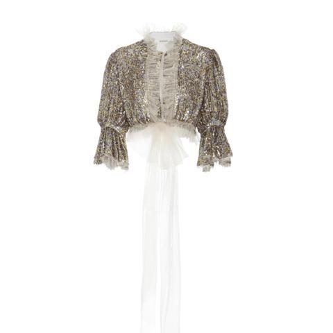 Sequin Embellished Cropped Blouse