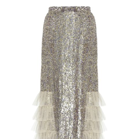 Sequin Embellished Ruffled Skirt
