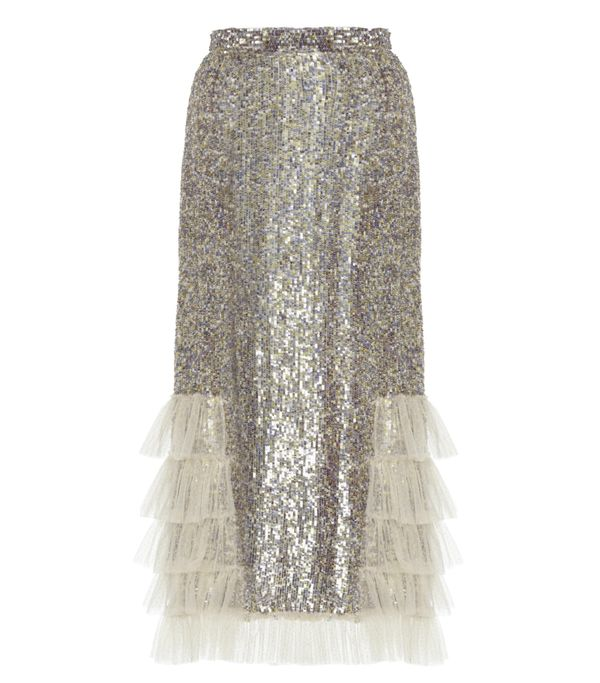 Sequin Embellished Ruffled Skirt