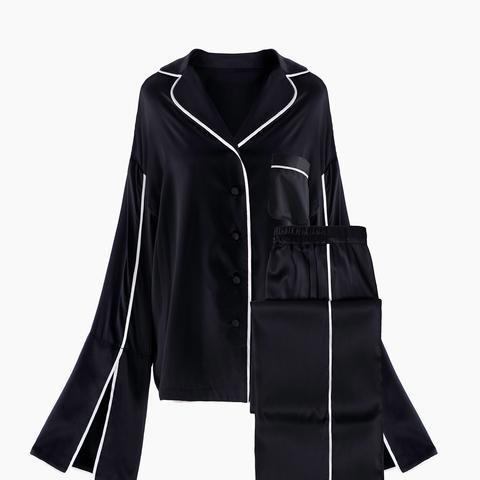Sleeper Hotel Black Silk Pajama Set