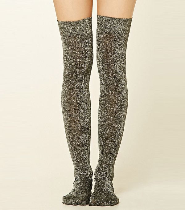 Forever 21 Over-The-Knee Metallic Socks