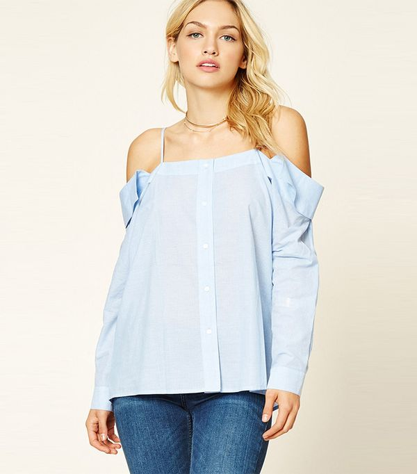 Forever 21 Contemporary Pinstripe Top