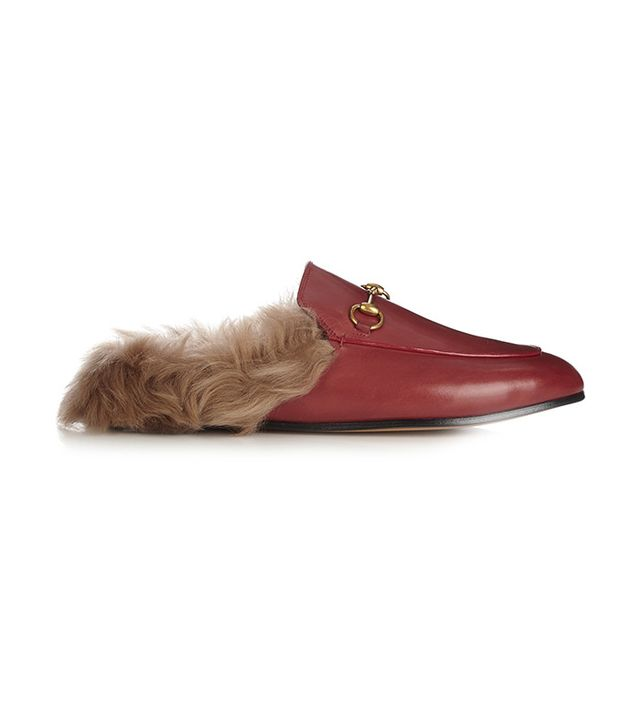 Gucci Princetown Fur-Lined Mule in Red