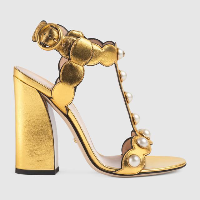 Gucci Leather T-Strap Sandal