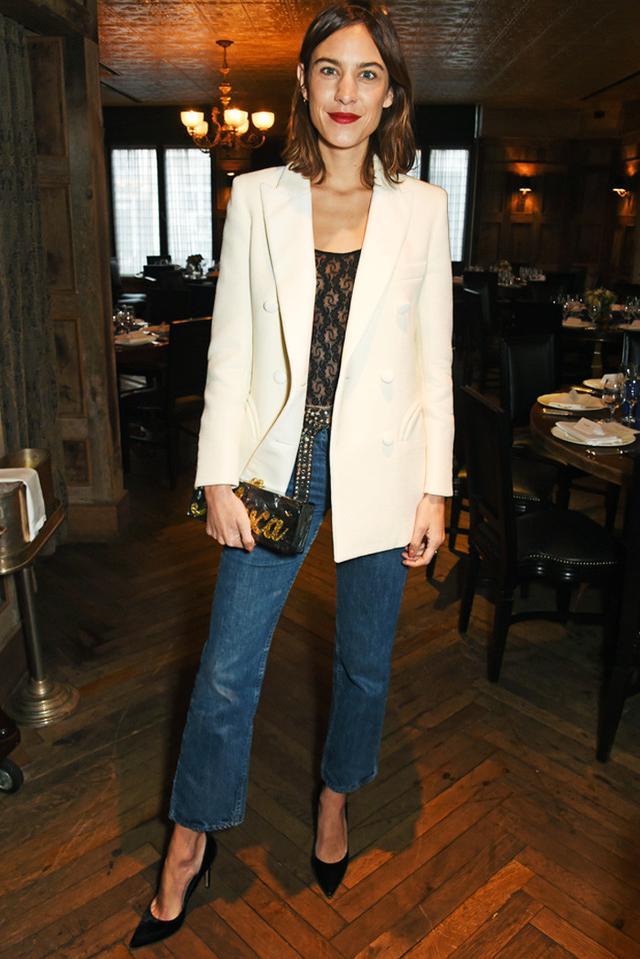 Alexa Chung white blazer and jeans