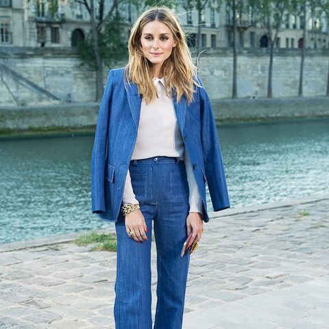 How to wear high-waisted jeans: With a matching suit jacket