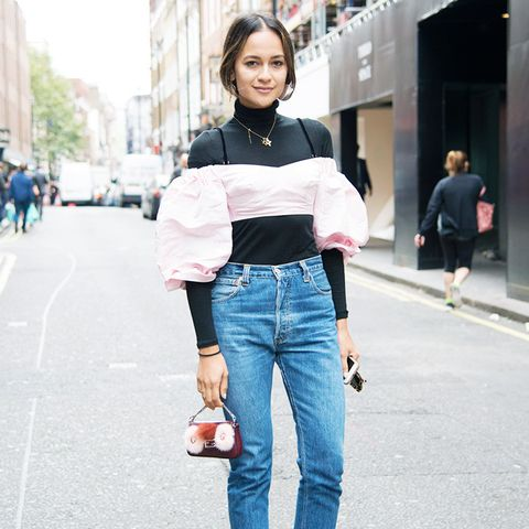 How to wear high-waisted jeans: With layered tops and pointed ankle boots