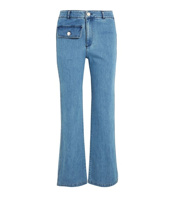 How to wear high-waisted jeans: See By Chloé High-Rise Straight-Leg Jeans