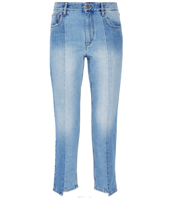How to wear high-waisted jeans: Étoile Isabel Marant Clancy Cropped High-Rise Straight-Leg Jeans