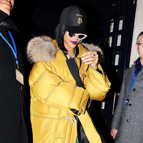 rihanna puffer jacket: yellow jacket