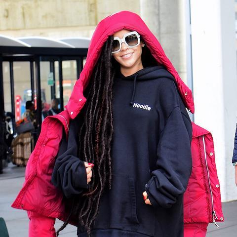 rihanna puffer jacket: red
