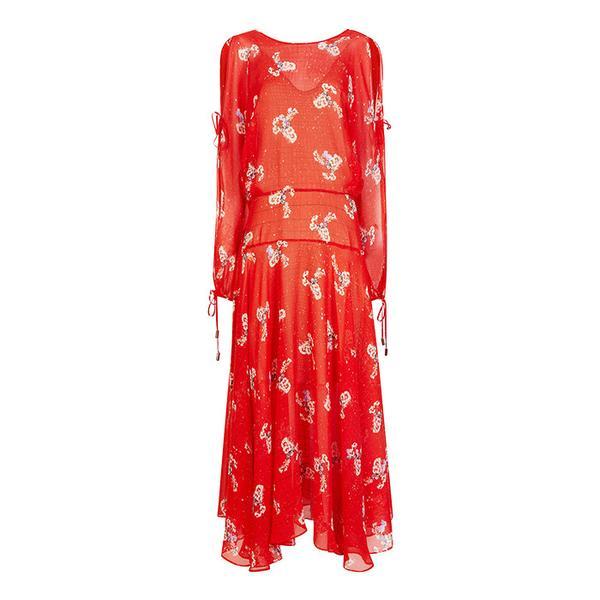 Preen by Thornton Bregazzi Red Silk Printed Sharon Dress