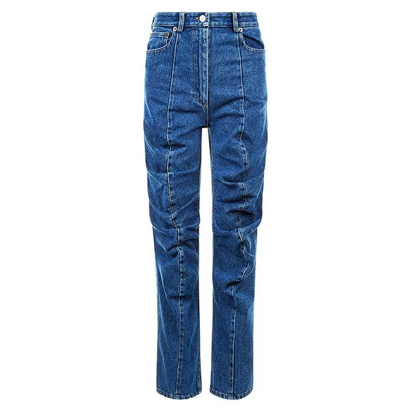 Y/Project Blue Denim Gathered Front Jeans