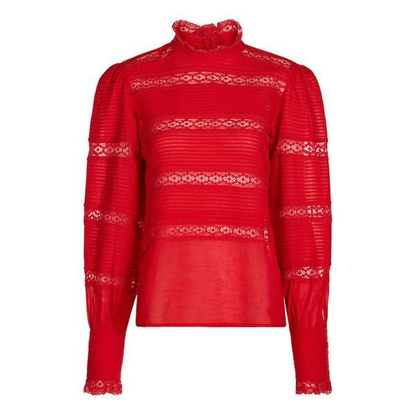 Étoile Isabel Marant Red Cotton Lace Trim Blouse