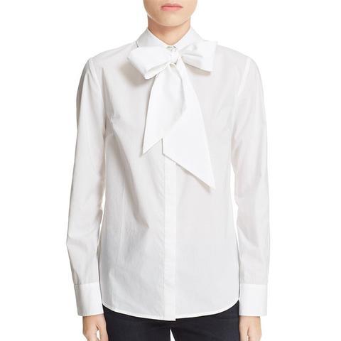 Le Bowtie Removable Tie Cotton Poplin Blouse