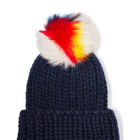 Rain Faux Fur-Trimmed Wool Beanie