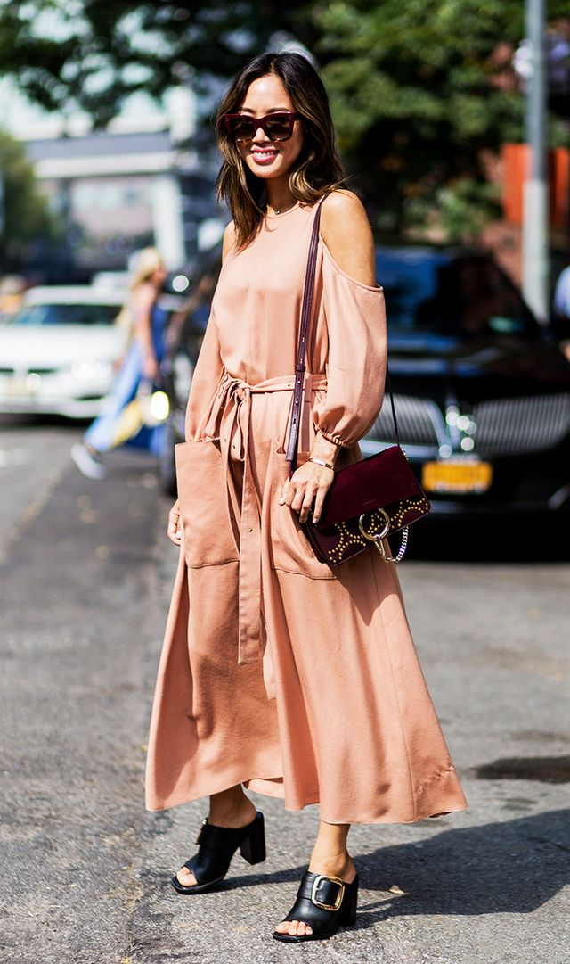 Aimee Song in peach dress and buckle mule street style