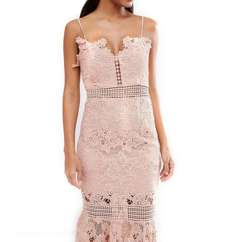 Cami Strap Long Length Midi Lace Dress