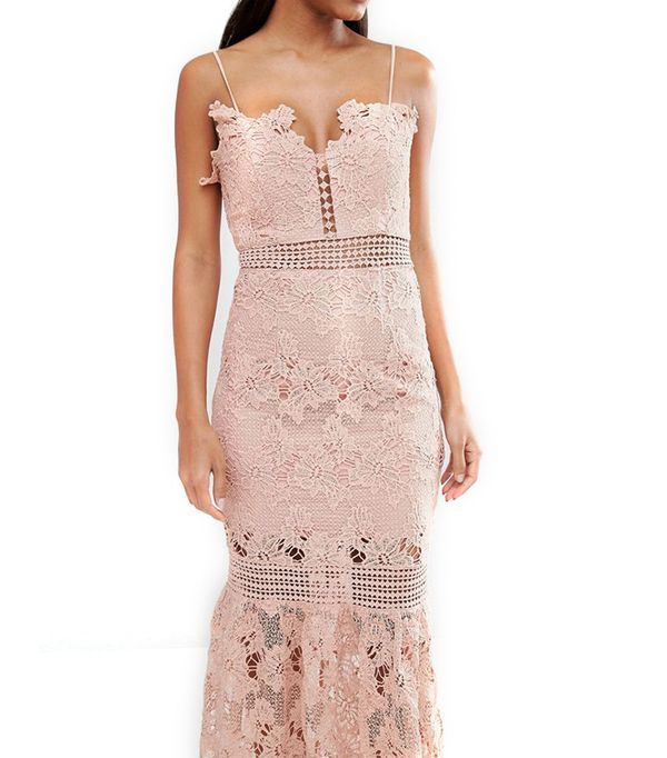 Love Triangle Cami Strap Long Length Midi Lace Dress