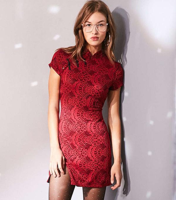 Ecote Band Collar Lace Bodycon Mini Dress