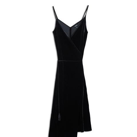 Women's Velvet Wrap Slip Dress
