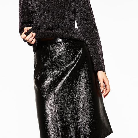 Midi Patent Finish Skirt