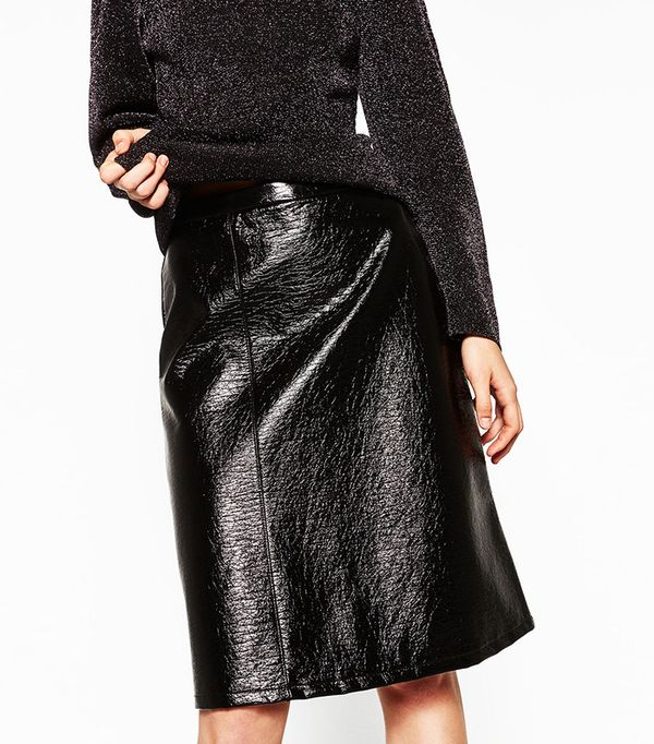 Zara Midi Patent Finish Skirt