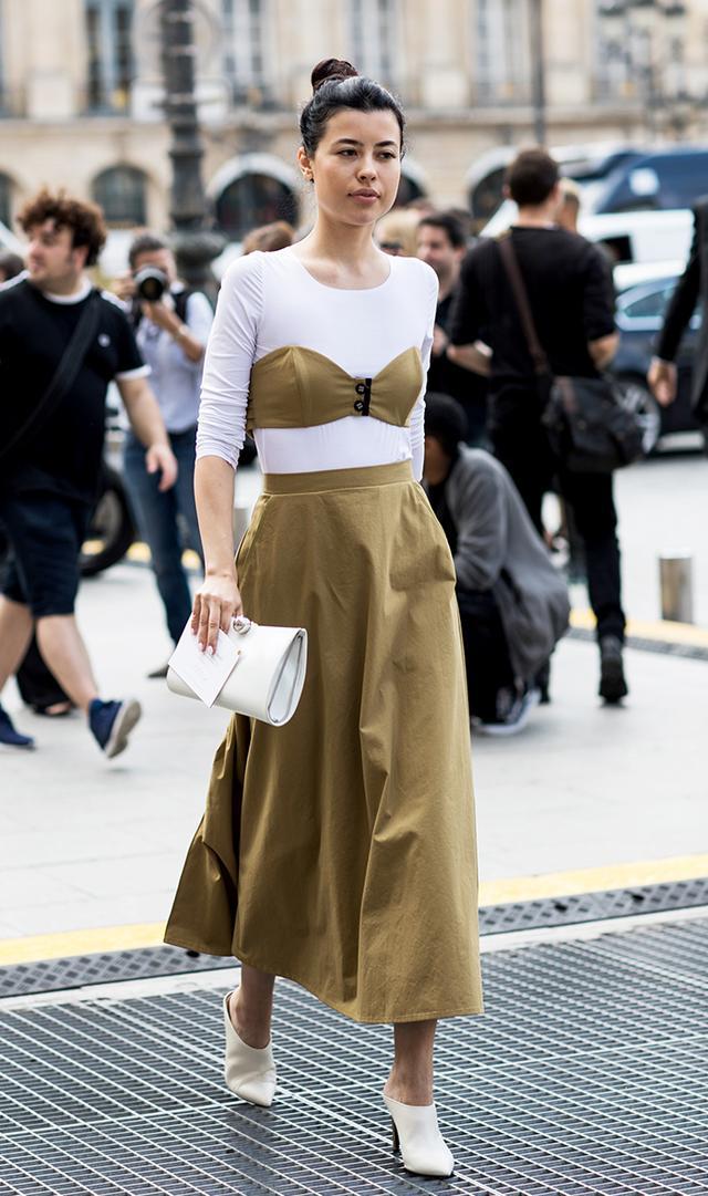 midi skirt, paris fashion week street style