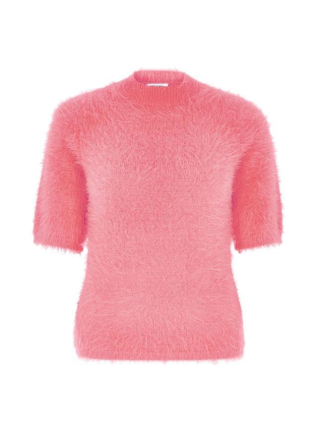 River Island Pink Fluffy Turtleneck T-Shirt