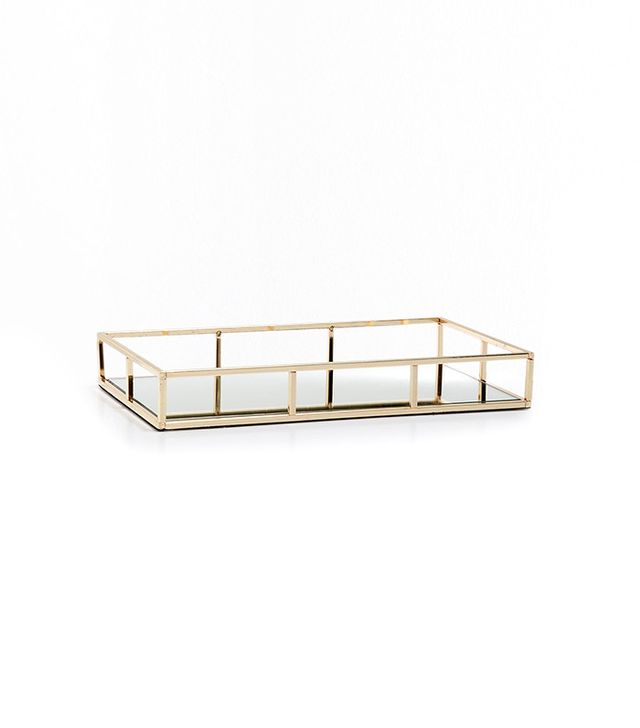 Zara Home Golden Structured Tray With a Mirrored Base
