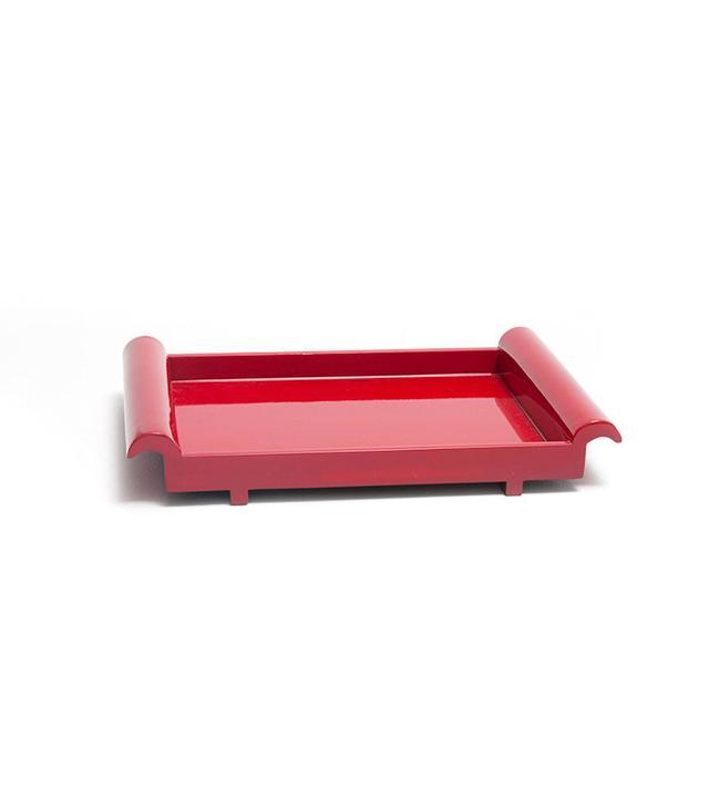 Zara Home Plain Red Rectangular Tray