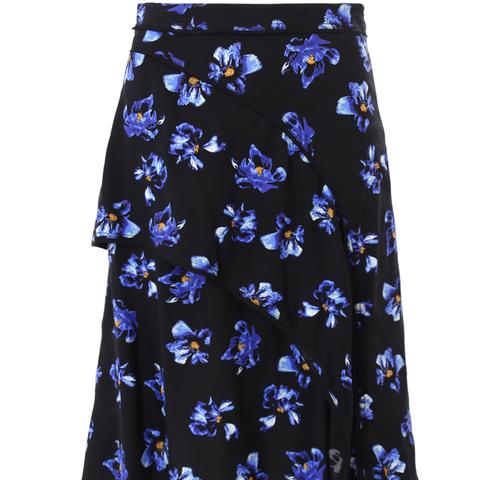 Asymmetric Ruffle Skirt Floral