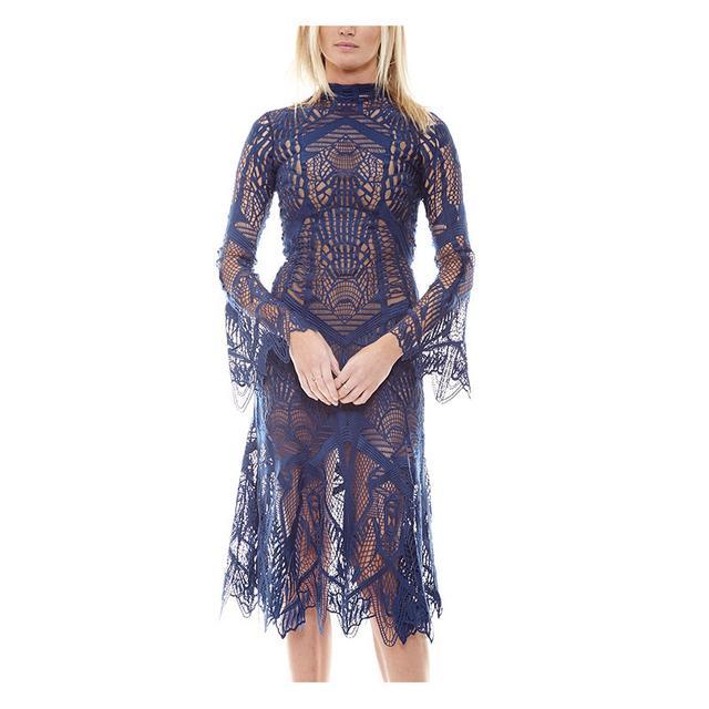 Jonathan Simkhai Mocneck Lace Navy Dress