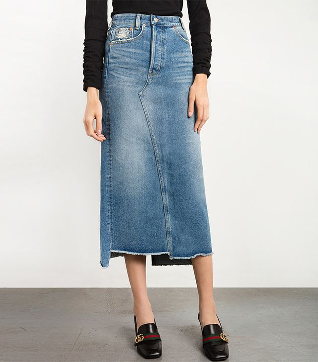 Pixie Market Denim Frayed Maxi Skirt