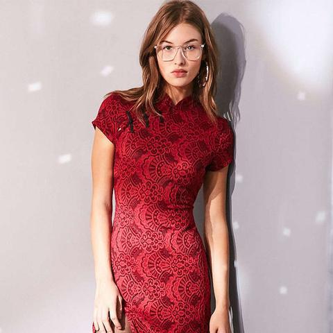 Band Collar Lace Bodycon Mini Dress