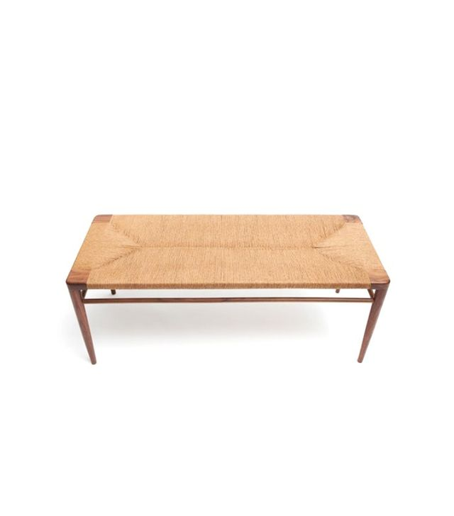 Smilow Furniture Hand Woven Rush and Walnut Bench