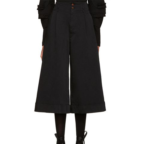 Black Satin Cuffed Trousers