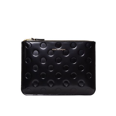 Wallet Black Patent Polka Dot Pouch