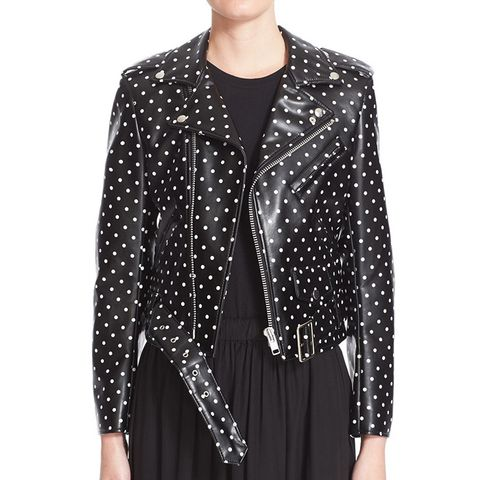 Polka Dot Faux Leather Moto Jacket
