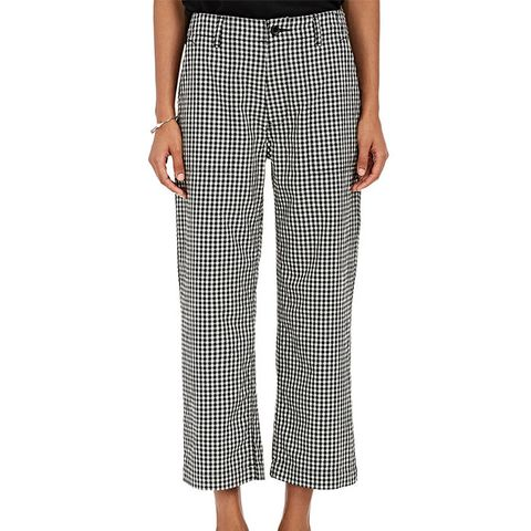 Gingham Cotton-Wool Crop Pants