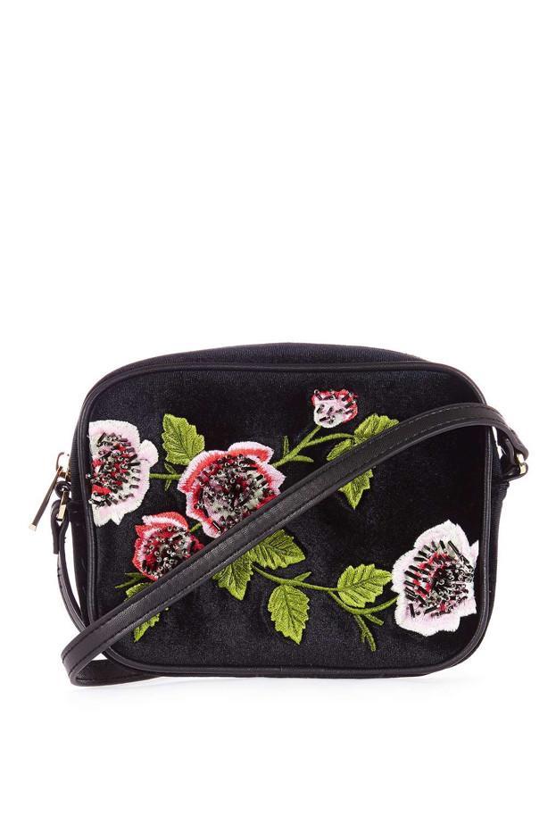 Topshop Velvet Floral Embroidered Crossbody Bag