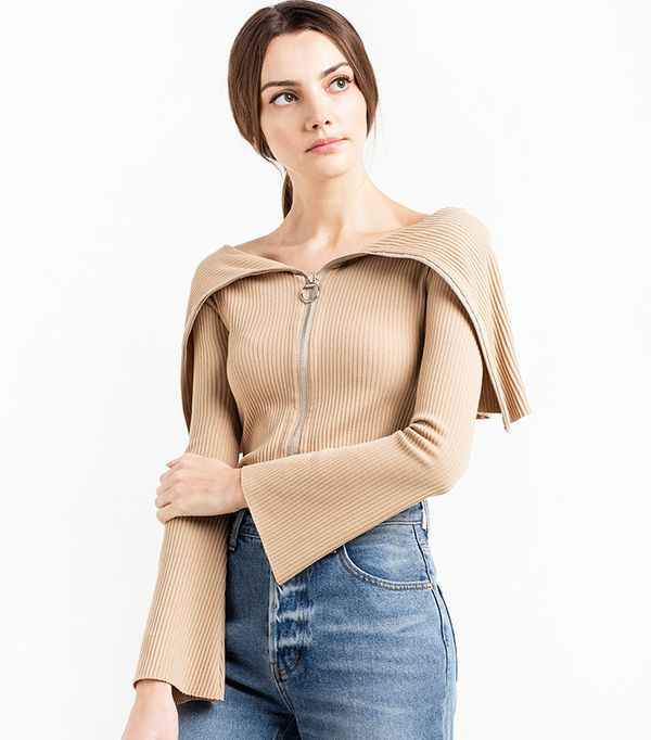 Pixie Market Roebling Ribbed Zipped Off The Shoulder Sweater