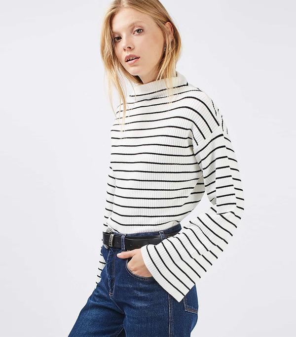 Topshop Wide Sleeve Stripe Jumper